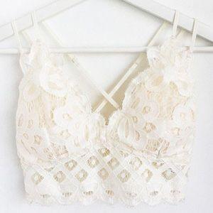 Boho Floral Anemone Off White Soft Lace Bralette